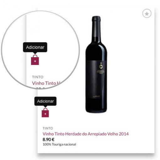 Adicionar ao carrinho na página de catálogo da Virgu Wines
